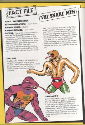 Page 52 with Snake Men fact file