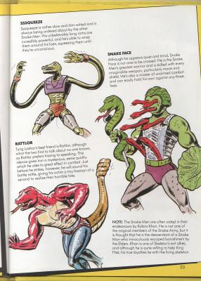 Page 53 with Snake Men fact file