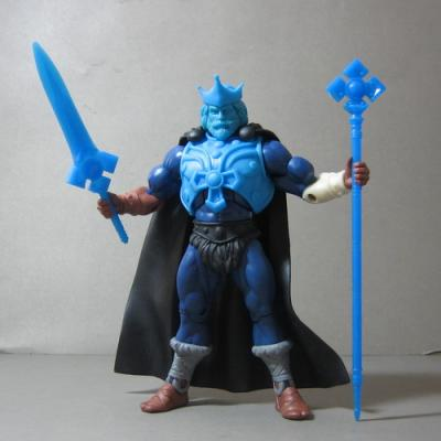 Here is a King Randor Test-Shot molded with different colored plastic. He comes complete with blue weapons and a Black cape.