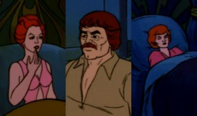 Teela, Man-at-Arms and Queen Marlena in bed without their tiaras & helmet in Eternal Darkness