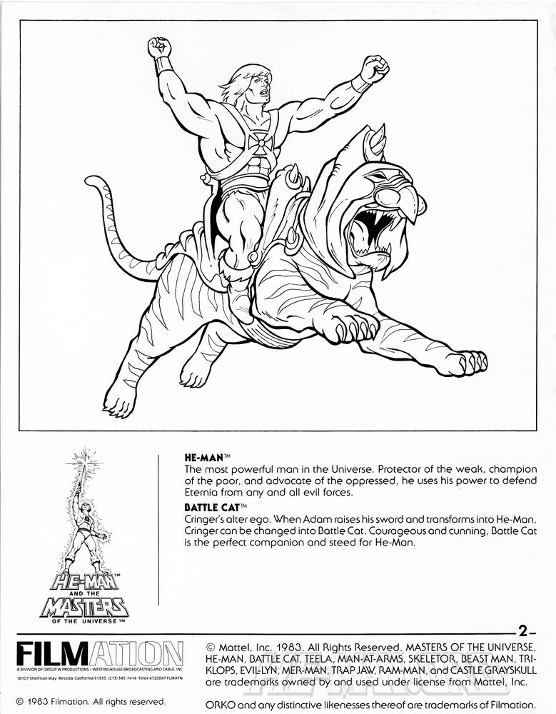 He cartoons and features he man and the for Masters of the universe coloring pages