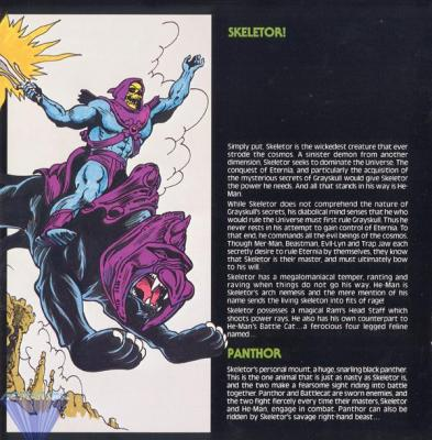 Skeletor seeks to dominate the universe, and Panthor, the black panther.