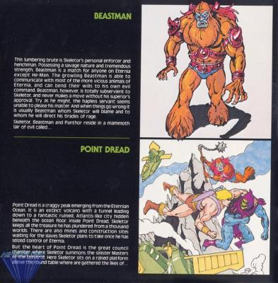 Beastman, the lumbering brute, and Point Dread, the villains' base.