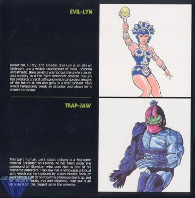 Evil-Lyn, the wicked counterpart of Teela, and Trap-Jaw, part robot cyborg.