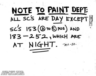 Note to Paint Dept.