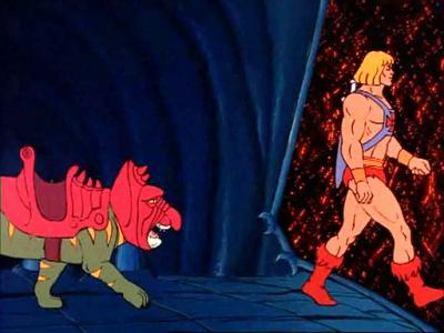 He-Man and Battle Cat entering the Time Corridor.