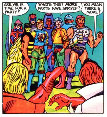 A colorful cast of Heroic Warriors greet Prince Adam and Teela.