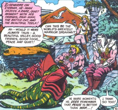 He-Man, Battle Cat, Teela, and Ram Man relax.