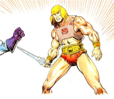 He-Man stands posed against Skeletor.