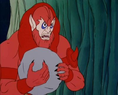 Beast Man drops a boulder on his foot.