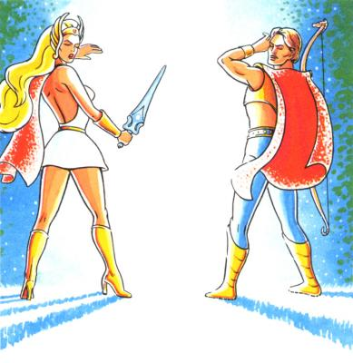She-Ra and Bow shield their eyes from the intense light.