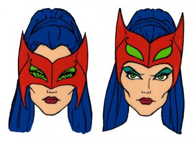 A model sheet featuring Catra's mask.