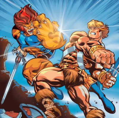 He-Man and Lion-O illustrated in battle by Ed McGuinness.