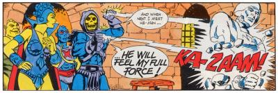 Skeletor destroys a statue of He-Man.