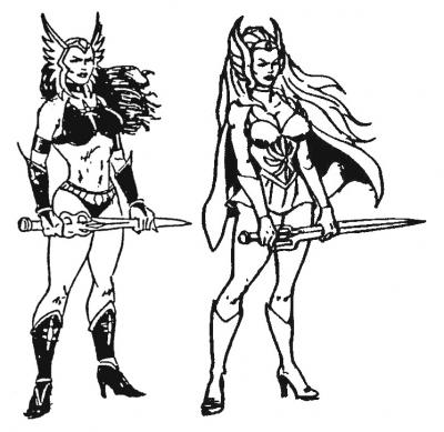 A preliminary design for She-Ra next to the final design.