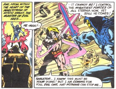 He-Man and Skeletor duel under dramatic circumstances.
