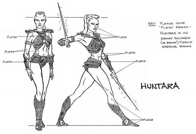A model sheet turnaround of Huntara.