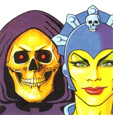 Skeletor and Evil-Lyn in detail.