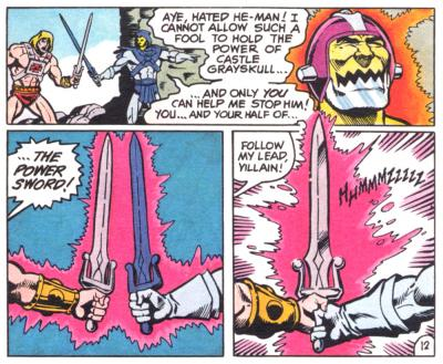 He-Man and Skeletor team-up to defeat Trap Jaw.
