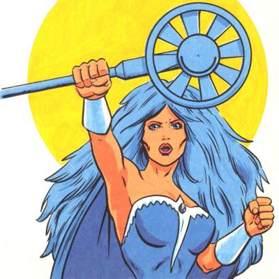 Frosta holds aloft her magical wand.