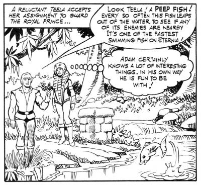 Prince Adam and Teela walk near a stream.