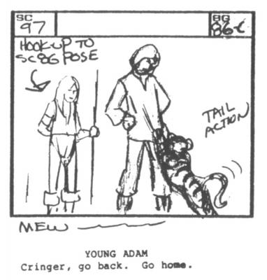 A young Cringer paws at a young Prince Adam.