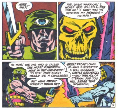 Skeletor and Tri-Klops discuss terms.