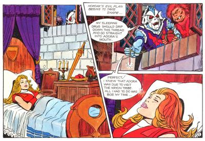 Hordak captures Adora using a thread laced with a sleeping drug.