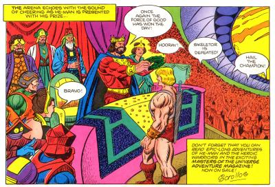 King Randor hails He-Man as the champion.