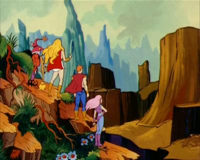 She-Ra and her allies examine the landscape of Kyrtis.