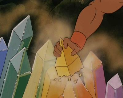 He-Man takes some of Skeletor's Rainbow Quartz.