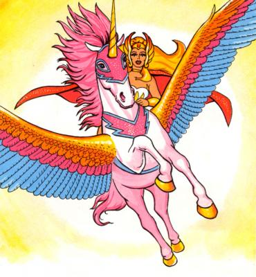 Swift Wind carries She-Ra into the skies.