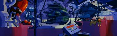 A panning shot of Man-At-Arms' laboratory.