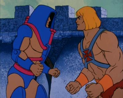 Man-E-Faces stands opposite He-Man.
