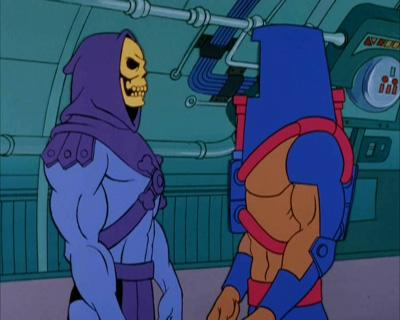 Man-E-Faces stands opposite Skeletor.