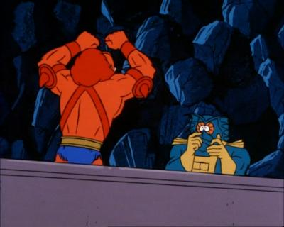 Mer-Man cowers before Beast Man.