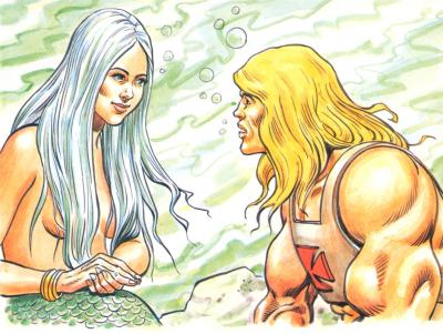 A Mermaid speaks with He-Man.