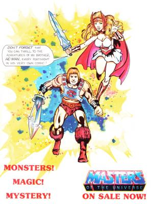 He-Man and She-Ra advertise the UK He-Man comic.