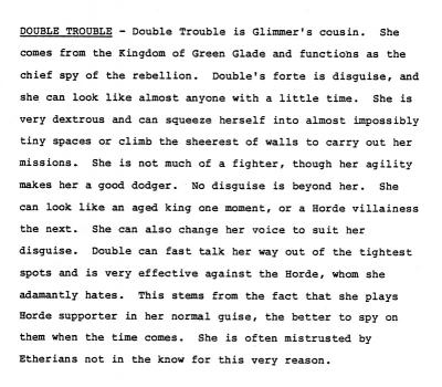 Double Trouble's character description as it appears in the She-Ra series bible.