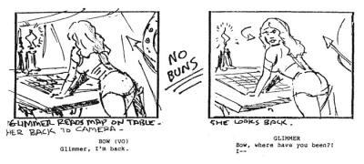 A storyboard panel showing Glimmer's debut.