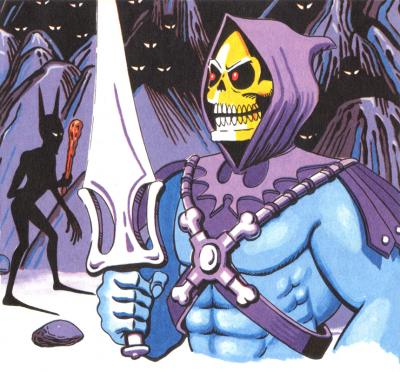 Skeletor wields his energy blade.