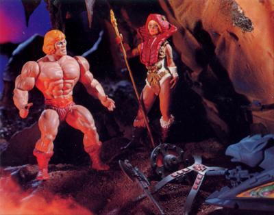 The Goddess presents He-Man with his weapons.