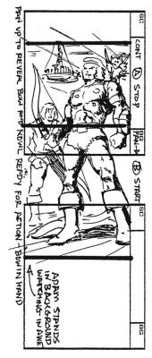 An early design of Bow appears in Don Manuel's storyboard.