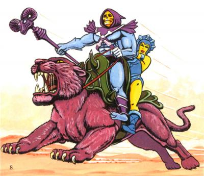 Skeletor and Evil-Lyn ride Panthor.