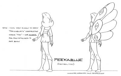A model sheet featuring Peekablue.
