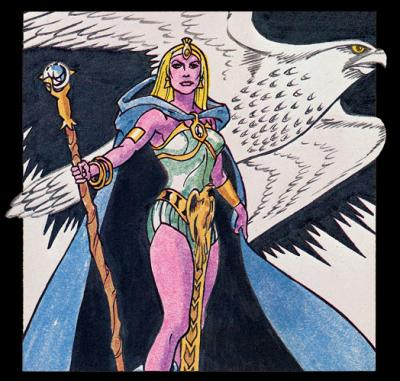One of the earliest illustrations of the Sorceress (with purple skin).