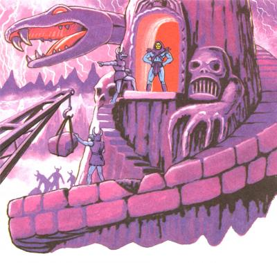 Skeletor and his Skelcon slaves rebuild Snake Mountain.