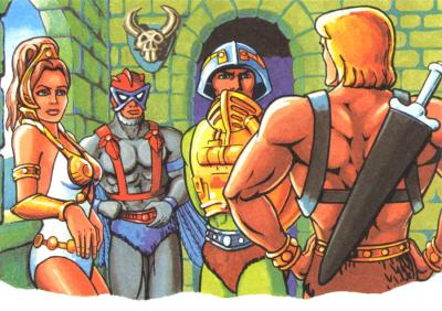 Teela, Stratos, and Man-At-Arms, listen to He-Man.