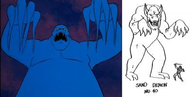 A comparison of the original and final design of the Sand Demon.