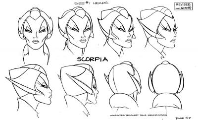 A model sheet turnaround of Scorpia's head.